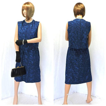 Vintage 60s formal dress / size 6 / 7 / embroidered silk dress / 2 piece / 1960s stunning royal blue iridescent glam Jackie O dress