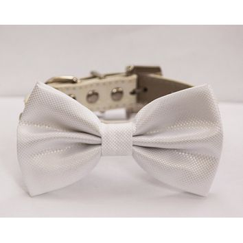 White Wedding Dog Bow Tie - White Wedding Dog Collar- Cute Dog Bowtie, with high quality leather collar