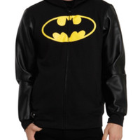 DC Comics Batman Faux Leather Sleeve Hoodie