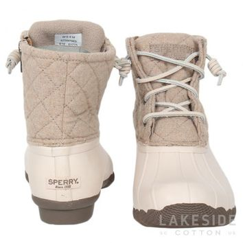Women's Saltwater Quilted Duck Boot in Oyster   Lakeside Cotton
