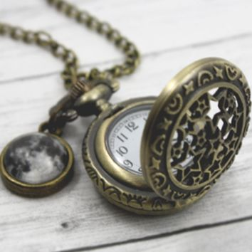 Moon And Stars Pocket Watch Necklace