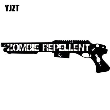 YJZT 16.3CMX5CM Funny ZOMBIE Repellent Assault Shotgun Decal Car Sticker Vinyl Car-styling S8-1188