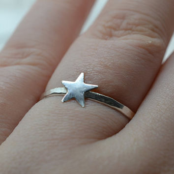 Sterling Silver Star Ring, Celestial Jewelry, Star Jewelry, Night Sky Jewelry