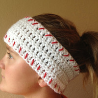 Baseball Headwrap, Crochet Headwrap, Baseball Ear Warmer, Baseball Head Wrap