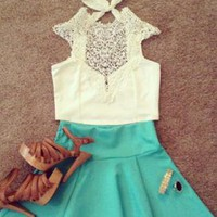 White Crochet Neckline Crop Top with Tie Detail