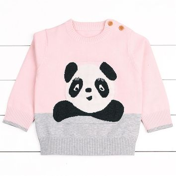 Toddler Girls Boys Knitted Coat  Baby Panda Pattern Sweater Pullovers Autumn Winter Warm Blouse Outerwear Clothes Costume #IS