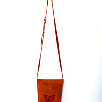 Faux suede butterfly bag / soft velvet / orange / brown / faux leather bag / autumn / vintage / 80s / adjustable / customized / small bag