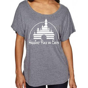 Disney Shirt I Happiest Place on Earth I Magic Kingdom Castle I T shirt (not tunic) Perfect for a Trip to Disneyland or Disney World