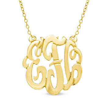 Monogram Scroll Necklace in Sterling Silver with 24K Gold Plate (3 Initials)