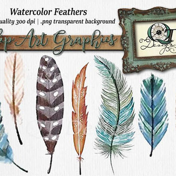 Quality Time Designs | Water Color Feather Set| Digital Download | Personal or Commercial Use | Transparent Background | PNG | Clip Art