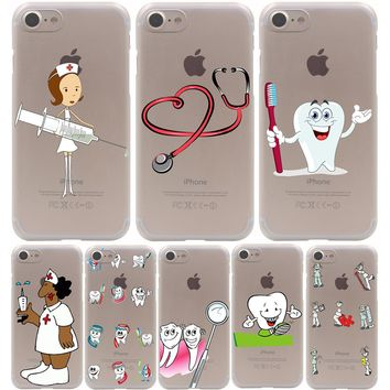 Cute Nurse Doctor Dentist Stethoscope Tooth Injections Hard Transparent Case for iPhone 7 7 Plus 6 6S Plus 5 5S SE 5C 4 4S
