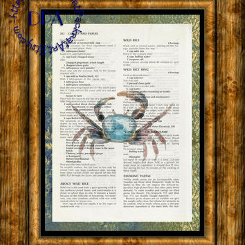 Blue Crab Into the Light Glow Art - Beautifully Upcycled Vintage Dictionary Page Book Art Print, Sea Life Print