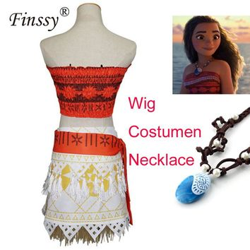 2017 Princess Moana Costume for Girls Dress Moana Halloween Costume for Women Adult Cosplay Necklace Wig Skirt