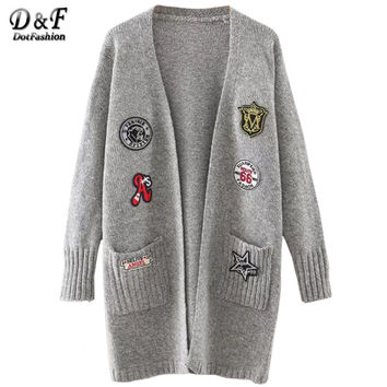 Kknitted Sweater Womens Fall Fashion Long Knitted Cardigans Marled Knit Patch Long Cardigan With Pockets
