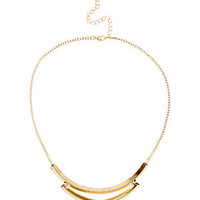 Gold Double Row Tube Skinny Chain Necklace