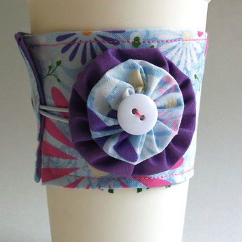 Purple Daisy Coffee Cup Cozy / Flower Drink Sleeve / Pink Floral / Daisies / Flowers
