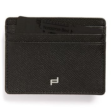 Men's Porsche Design 'FC 3.0' Leather Card Holder - Black