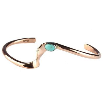 CREYV2S TSKIES Authentic Navajo Turquoise Copper Bracelet Handmade Native American Jewelry 6.75' Wrist
