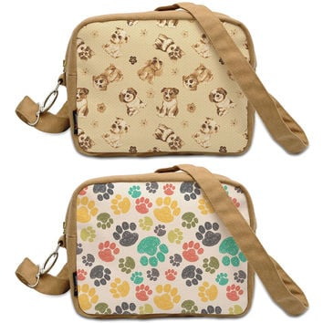 Funny Dog Doodle Patterns  Printed Canvas Casual Crossbody Bag WAS_20