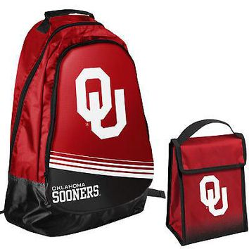Oklahoma Sooners NCAA One Size Backpack Core Bag Insulated Lunch Box
