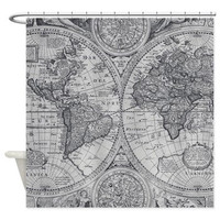 Map Shower Curtain -  gray monochrome Antique map - travel Decor - historical Bathroom - world maps