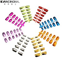 Pro 1Pc Acrylic French False Nail Tips Metallic Color Full Cover Fake Nails Strips For Salon DIY Manicure Art Design Tools