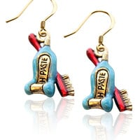 Designer Tooth Paste with Brush Charm Earrings