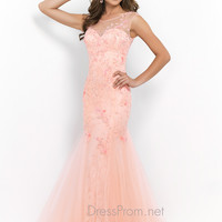 Blush Fitted Floral Inspired Prom Gown 9960