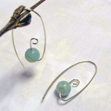 Amazonite Hoop Earrings, Open Hoop Earrings, 925 Sterling Silver, Modern Earrings, Stone Hoops, Amazonite Threader Earrings, Light Weight
