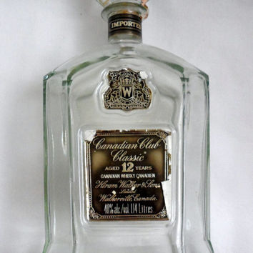 CROWN ROYAL DECANTER Bottle/1 14 Liters / Old Whiskey Bottle / Very Large Decanter Clear Glass Hiram Walker and Sons Limited/ Xtr Lge Bottle