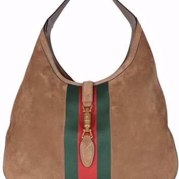 Gucci Women's 362968 Soft Suede Red Green Web Stripe Jackie Hobo Handbag