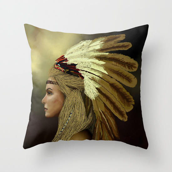 Throw Pillows Next : Native american Throw Pillow by Blaz Rojs from Society6