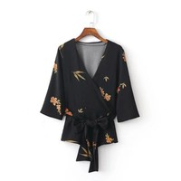 Fashion Women Flowers printing Half sleeves Kimono style Shirts Office work Blouses Casual Tops chemise femme blusas S1150