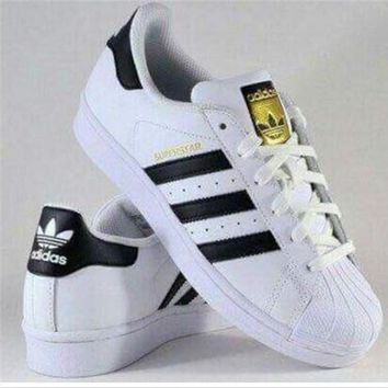 Adidas Fashion Shell-toe Flats Sneakers Sport Shoes White black golden-4