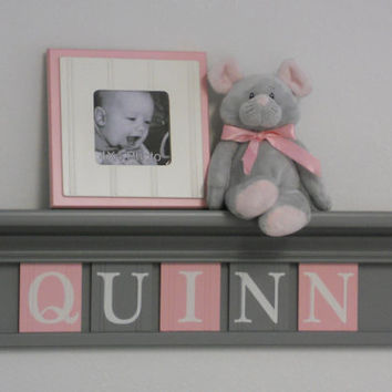 "Gray and Pink - Pastel Pink Baby Girl Nursery Decor - QUINN - 24"" Grey Shelf with 5 Wooden Letters"