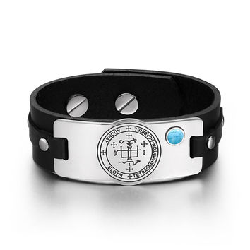 Archangel Gabriel Sigil Magic Powers Amulet Tag Simulated Turquoise Adjustable Black Leather Bracelet