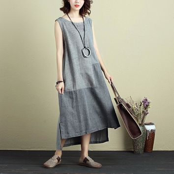 2018 Summer ZANZEA Women Sleeveless Loose Split Hem Splice Cotton Linen Long Dress Casual Party Beach Vintage Vestido M-5XL