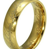 Coins_Stamps_and_More 18 Karat Gold Plated Titanium Stainless Steel Size 12 Power Ring Engagement Promise Wedding Band