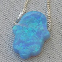 Blue Opal Hamsa Necklace and 925 Silver Chain