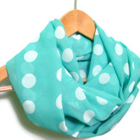 Mint Green Scarf with White Polka Dots