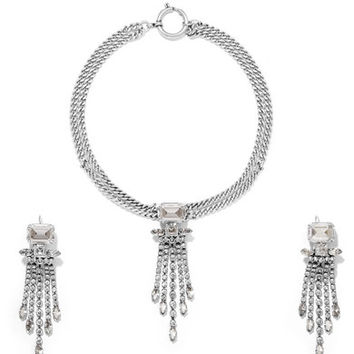 Isabel Marant - Silver-tone crystal necklace and earrings set