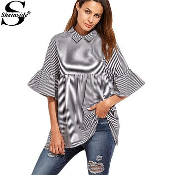 Sheinside Women Striped Blouses Ruffle Sleeve Casual Tops Autumn Style New Arrival Ladies Shirt Babydoll Cute Blouse