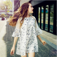 Fashion Retro Flower Print Perspective Gauze Stitching Frills Middle Sleeve Mini Dress