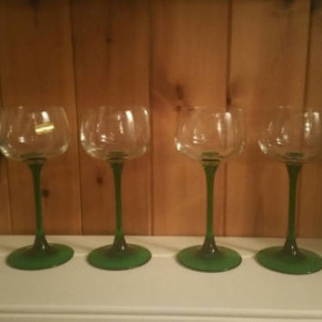 Full set of 6 Luminarc green stemmed wine glasses /1970s wine glasses/never used in original box