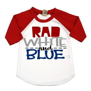 Rad White And Blue Kids Raglan Shirt