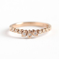 The Jane Band - Handcrafted 14k Rosy Yellow Gold Diamond Wedding Ring - Leaf Stacker Recycled Gold Half Eternity MJV Design Fine Jewelry