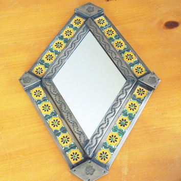 Mexican tile mirror - Diamond-shape punched tin metal tiled mirror - Yellow green floral tile mirror - Mexican folk art wall hanging