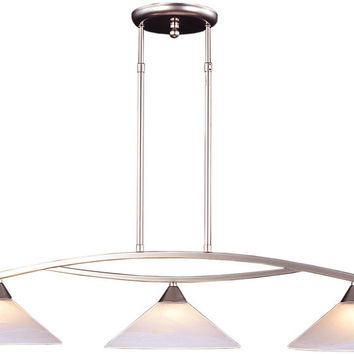 "0-014772>43""w Elysburg 3-Light Kitchen Island Pendant Satin Nickel/Tea Swirl"