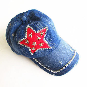 Studded Star Baseball Cap-Unisex Cap-Baseball Cap-Fashion Cap-Steam Punk Cap-Denim Cap.