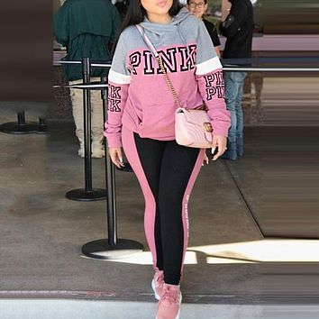 Victoria's Secret Pink Fashionable Women Casual Print Hoodie Sweater Trousers Two-Piece Set Sportswear Pink